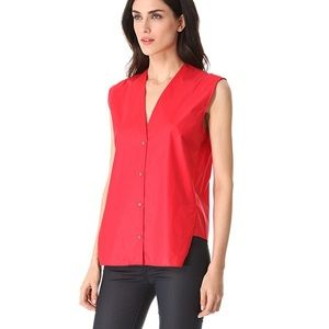 Helmut Lang Chintz Sleeveless Button Down Shirt!